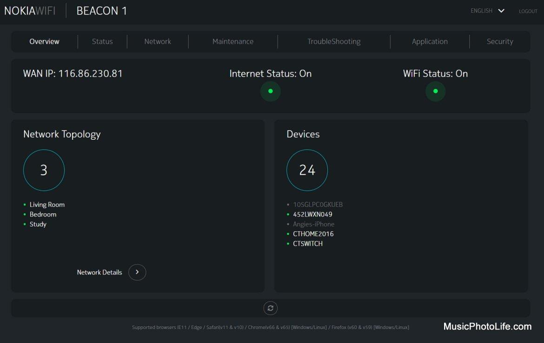 Nokia WiFi Beacon 1 router admin portal