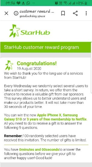 "Scam sites featuring StarHub logo ""giving away"" expensive phones, tablets and  netflix subscriptions for doing survey / winning lucky draw"