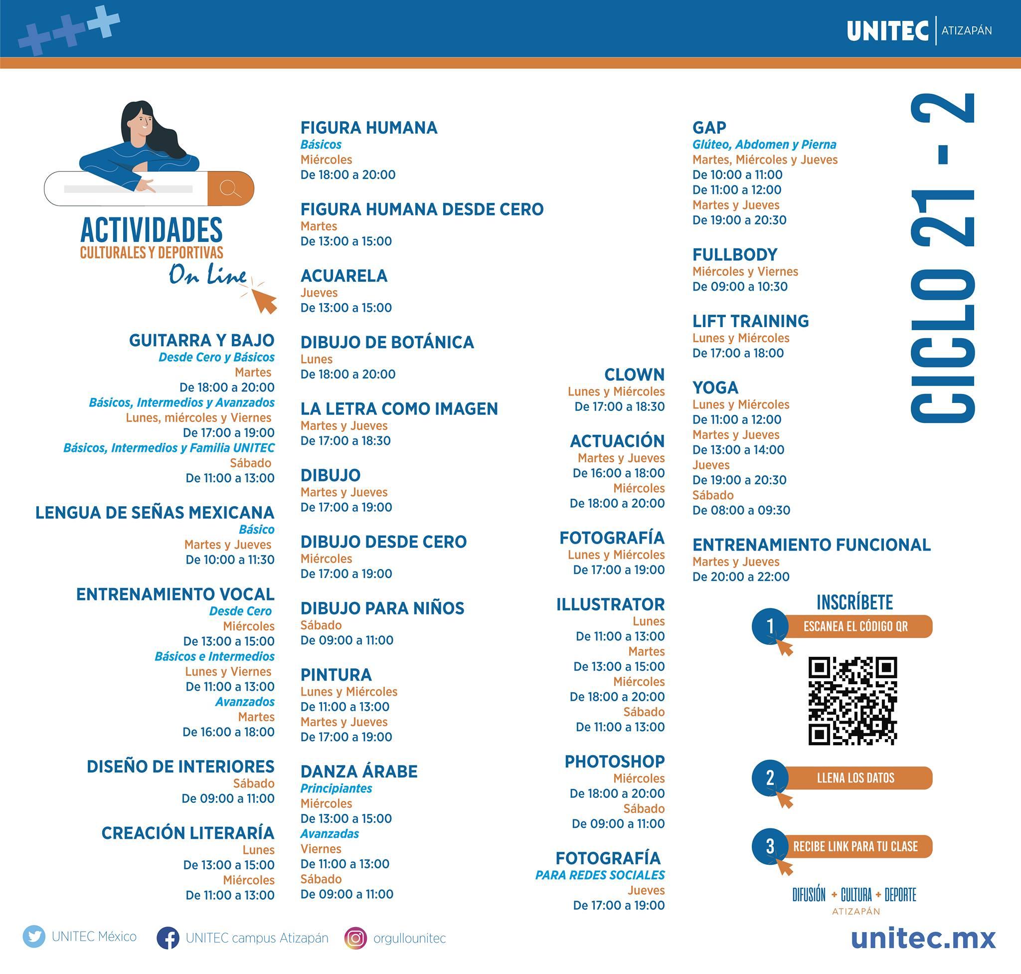 Horarios de Cultura y Deportes UNITEC Campus Atizapán
